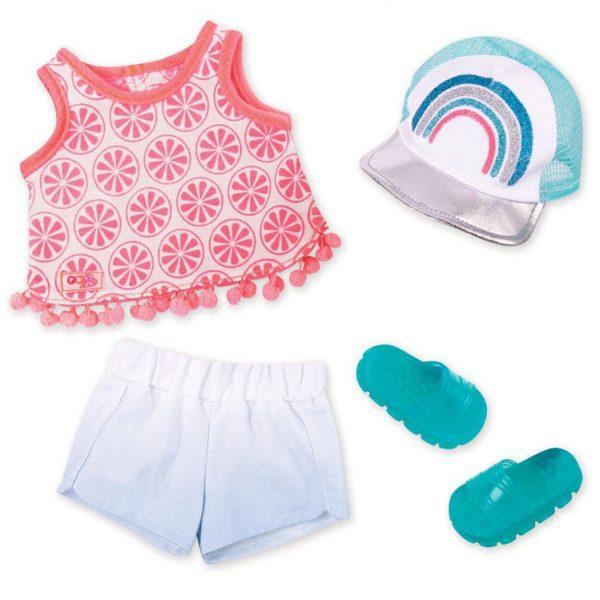 סט בגדי קיץ עם כובע וכפכפים