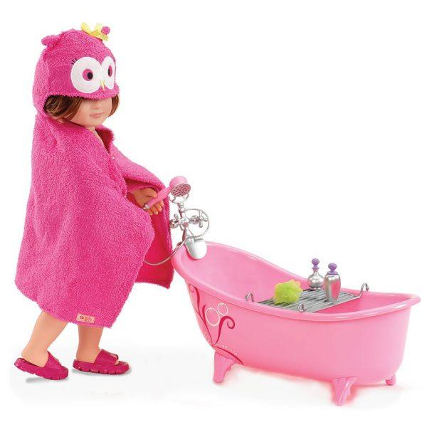 אמבטיה ורודה וסט אבזרים כולל חלוק ינשוף