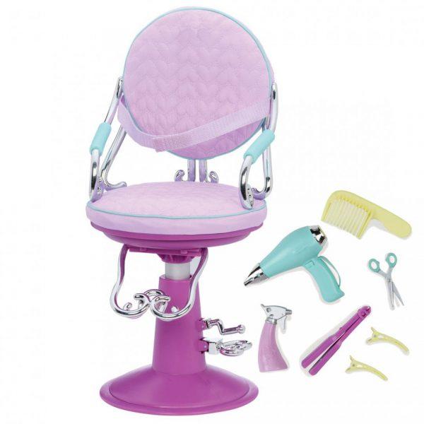 כסא מספרה סגול ואביזרים