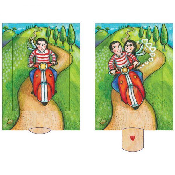 כרטיס ברכהזוג על אופנוע