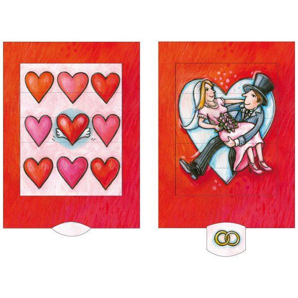 כרטיס ברכה חתונת לבבות