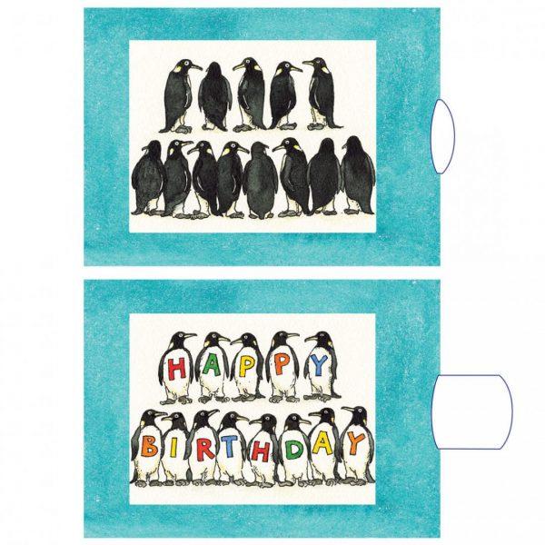 כרטיס ברכה יום הולדת פינגווינים